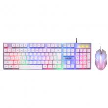 真机械手感键盘鼠标套装吃鸡键鼠台式有线薄膜网吧外设电脑笔记本办公套外接键盘 义宏7300有线游戏键鼠 白色