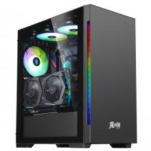金河田 魔术师SUPER黑色  台式机电脑游戏水冷主机箱玻璃全侧透ATX背线机箱