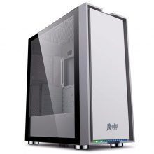 金河田 魔术师冰川银  台式机电脑游戏水冷主机箱玻璃全侧透ATX背线机箱