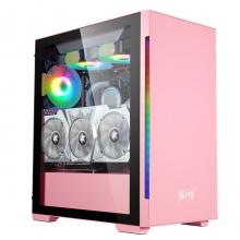 金河田 魔术师SUPER粉色  台式机电脑游戏水冷主机箱玻璃全侧透ATX背线机箱