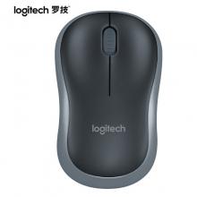 罗技(Logitech)M186鼠标 无线鼠标 办公鼠标 对称鼠标 黑色 灰边 自营 带无线2.4G接收器